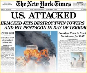 US Attacked, Hijacked jets destroy twin towers